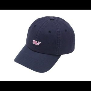 Navy blue with pink whale vineyard Vines hat